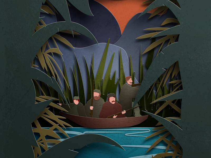 Secrets of the Swamp digital vector paper art papercut photoshop illustrator book cover book design illustration