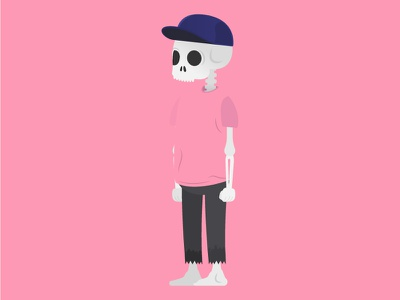 Larry walkcycle illustration skeleton pink