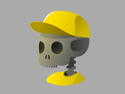Metal Bot Boy yellow skeleton halloween walkcycle character flatdesign flat 2d illustrator skull