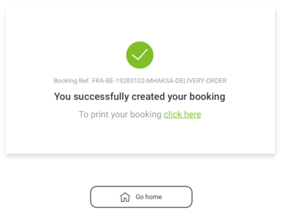 Successful message - Booking Created check confirmation success successful