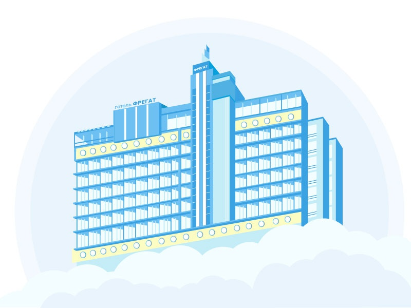 Fregat hotel illustration scape people city building hotel illustration