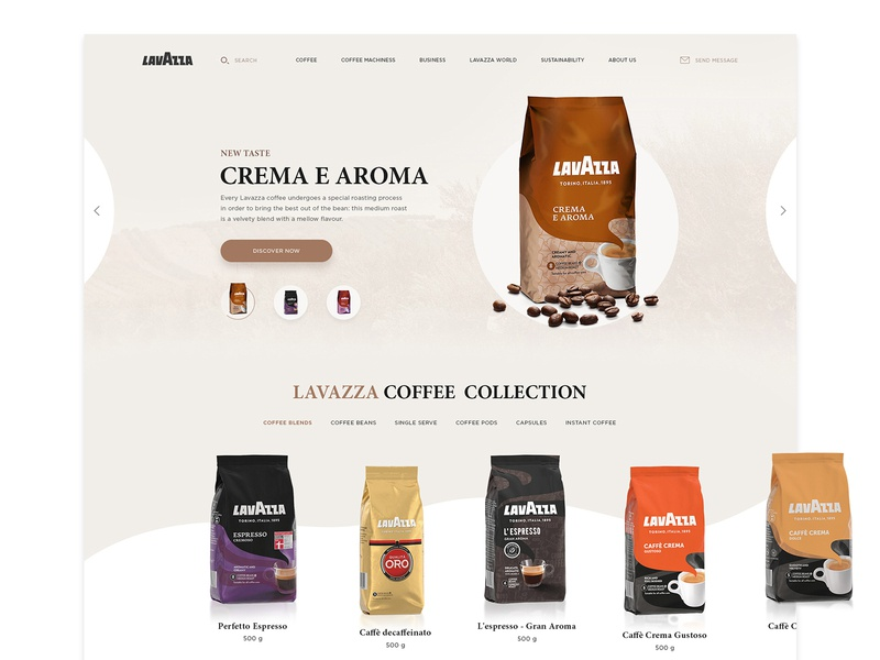 UI Design Idea Exploration ( lavAzza coffee) typography interaction web clean  creative coffee website interface ecommerce design ui ux uidesign clean 2018