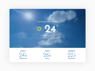 Weather (Daily UI #037) 037 dailyui weather flat graphic design photoshop ui ui design user interface simple minimal web design