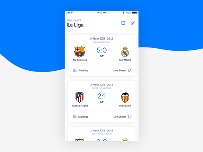 Livescore sport livescore application user experience user interface ux ui flat minimal app mobile