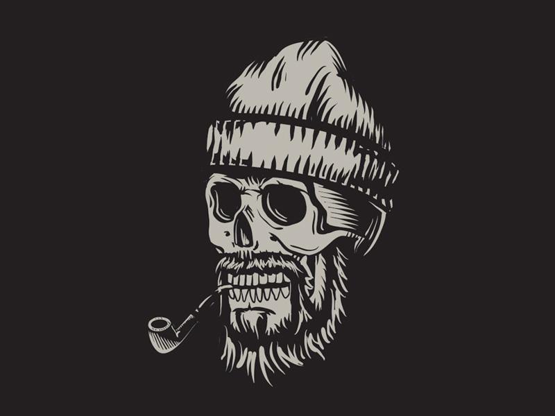Oldsalt block print illustration sailor skull pipe illustrator