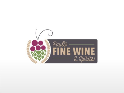 Paul's Fine Wine & Spirits Primary Logo primary logo typogaphy icon illustration designer wine liquor logo design primary branding and identity illustrator brand identity logo branding design brand design branding graphic design graphicdesign design vector