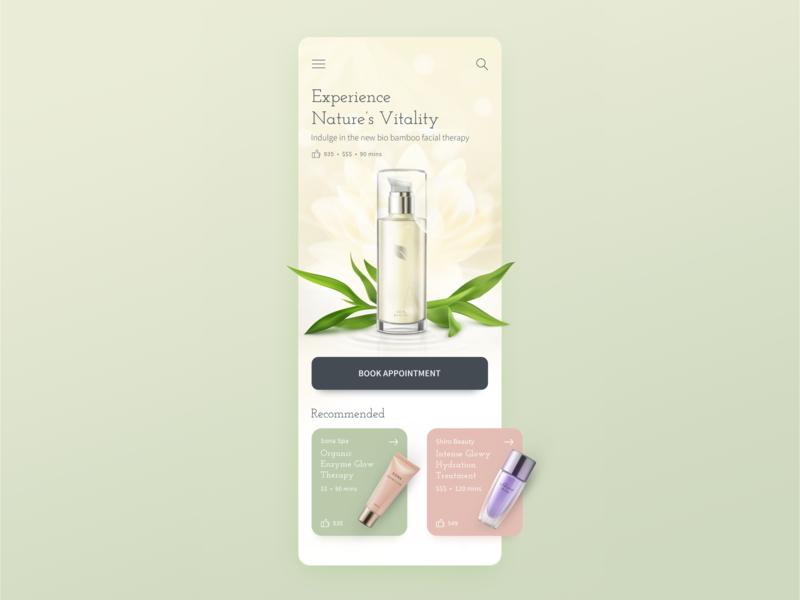 Beauty App natural organic ux facial salon concept ui daily ui app design app beauty app beauty