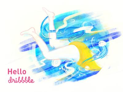 Hello Dribbble 2d girl pool dribbble hello graphic swim illustration