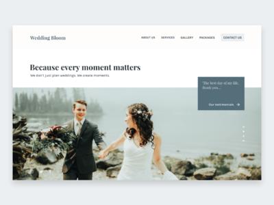 Daily UI: #003 — Landing Page daily user interface landing concept web branding wedding flat typography ui minimal 2d