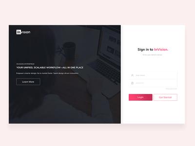 InVision login page