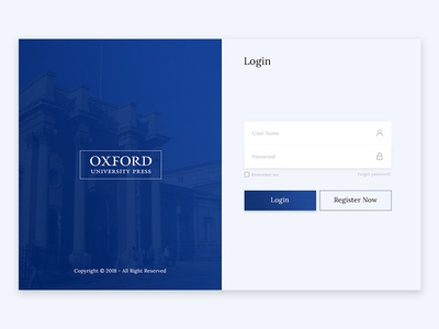 Oxford University Press Login page design