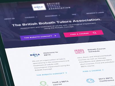 BBTA - Homepage, Mobile user interface web design iphone mobile app ui bootstrap bobath british