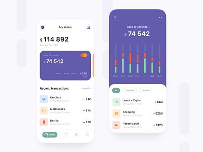 Wallet App 💰| Concept vector minimal icon typography flat app ux ui design
