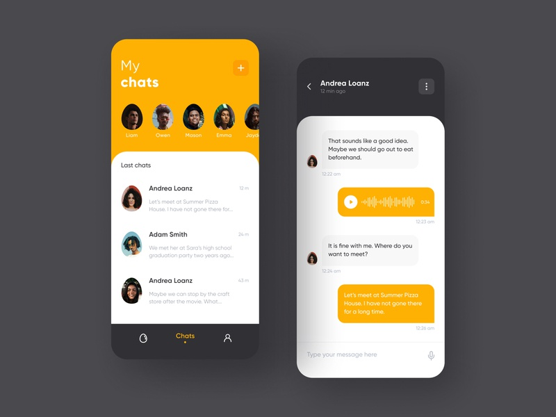 Chats & Message minimal icon typography flat brand app ux ui design