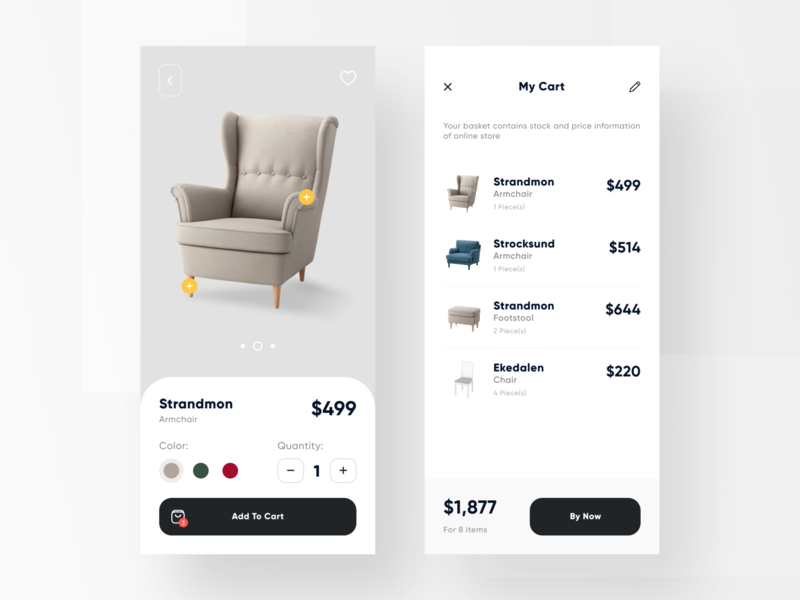 Furniture Mobile App Interface type minimal web icon typography brand app ux ui design
