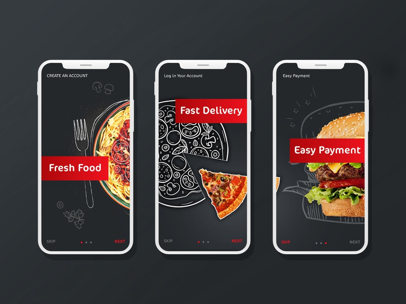 boarding in delivery food app delivery app food delivery food app boarding illustrator art icon ux ui flat branding design app