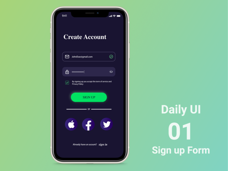 Daily UI #001 Sign up Form 001 dailyui