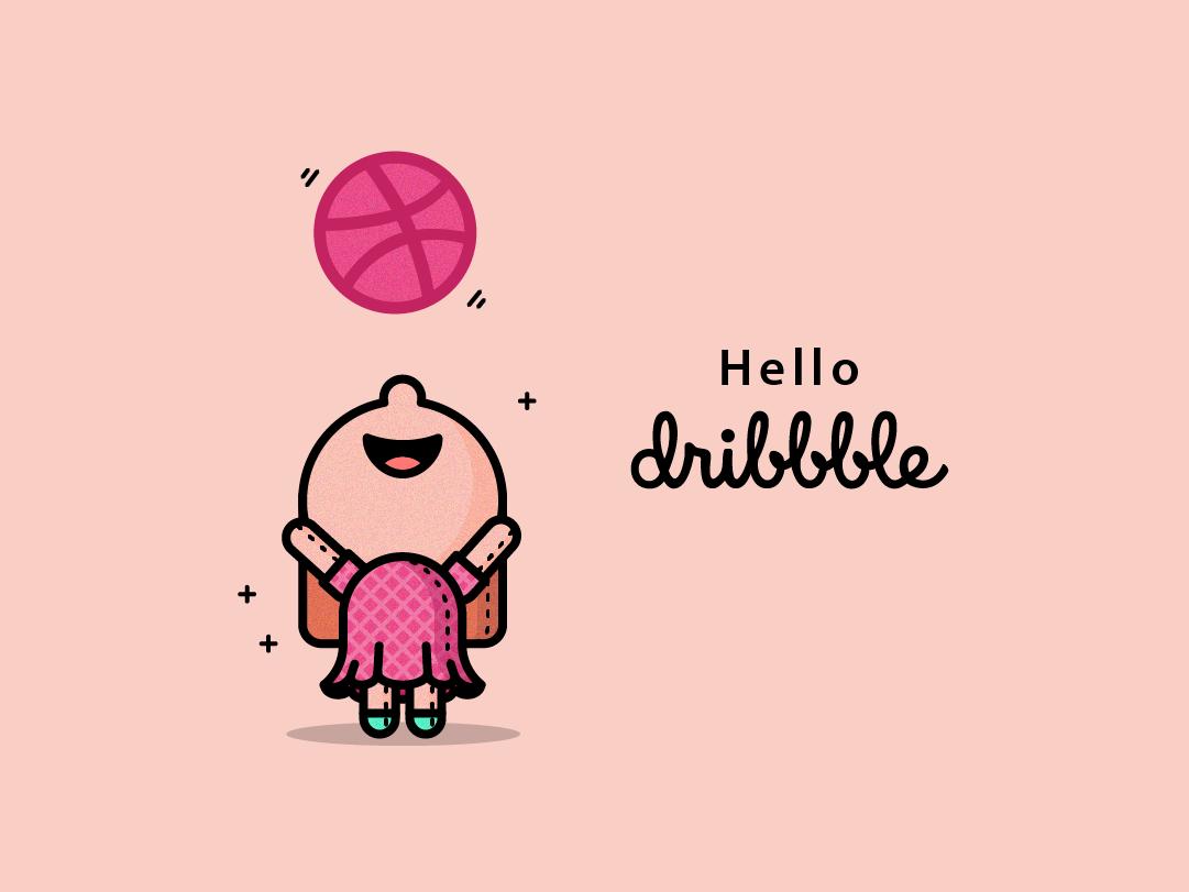 Hello Dribbble! vector illustration dribbble girl flat design flat