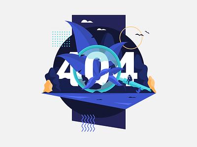 404 Page not found magnifying glass forest landscape jungle flat web design portfolio adobe illustrator vector art illustration error 404 page