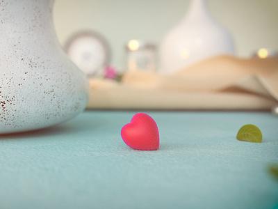 Valentine's Day - Fruit cute lovely love redshift cinema 4d 3d fuit heart