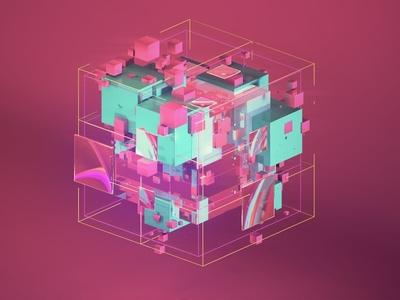 3d Cubic Cube square geometric design geometric art colorful redshift3d cinema 4d after effects