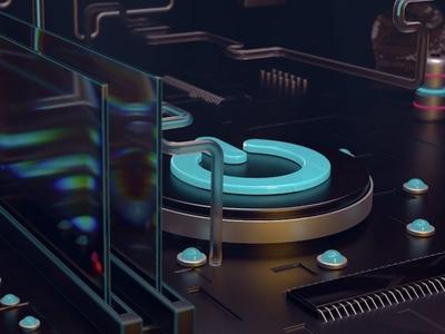 Hardware Room tech concept 3d button power render redshift3d redshift c4d motion design motion graphics after effects