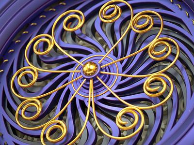Gold Ornaments nouveau milka cadbury redshift cinema 4d 3d gold ornaments
