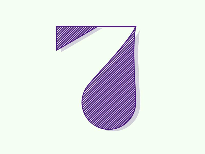 Number 7 typehue 7 lineart vector illustrator handtype font number