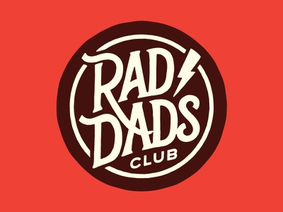 Rad Dad's Club rad dads fathers day dads badge crest lightning lettering rad father dad