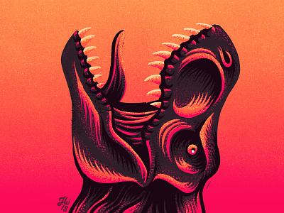 Roarrrrrr jurassic park teeth growl pink neon eruption volcano dinosaur jurassic tyrannosaurus t-rex roar