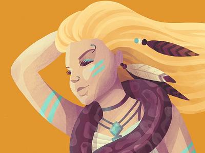 Kesha yellow desert illustration portrait tribal snake blonde hair kesha