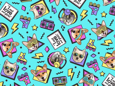 90's Pets Pattern bright teal pattern stars dogs cats dog cat neon retro pets 90s