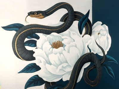 Snake Mural black  gold gold black painting peonies peony floral wall serpent mural snake
