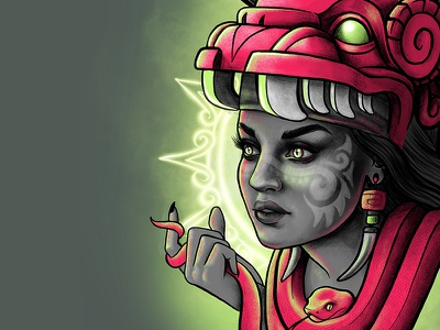 Mayan Priestess illustration neon glow costume headdress feathers aztec pre-columbian maya voodoo serpent snake priestess mayan