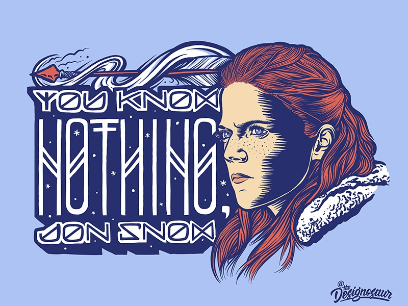 Ygritte portrait lettering typography illustration game of thrones ygritte wildling