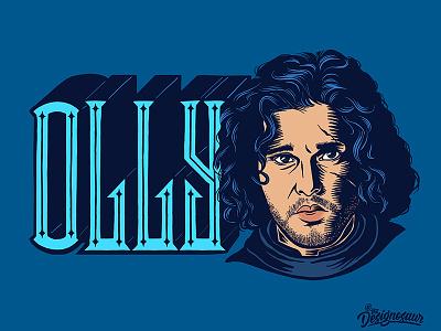 Jon Snow portrait lettering typography illustration king king in the north game of thrones targaryen jon snow