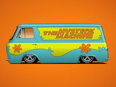 The Mystery Machine car wrap car livery car graphics retro van halloween mystery machine scooby doo hot rod vector illustration