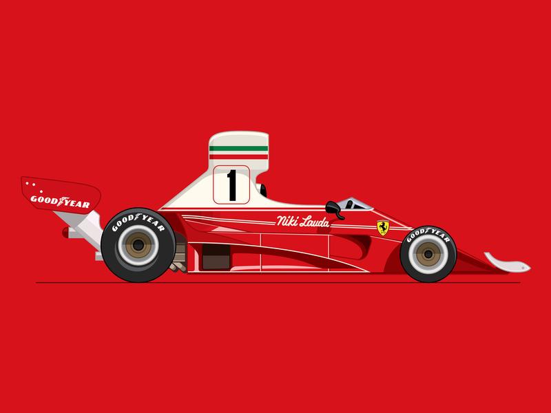 Niki Lauda 1976 car art race car vector illustration motorsports racing ferrari f1 formula1 niki lauda