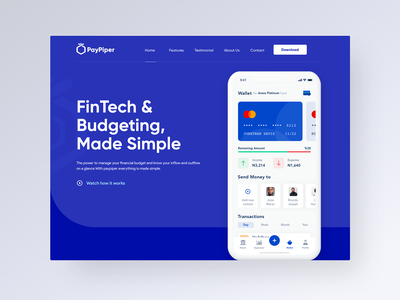 PayPiper FinTech App product page landing page fintech product product design interaction design dashboard sketch ux photoshop ui user interface user experience adobe xd design