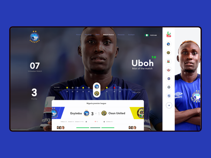 Enyimba FC Web Interface Design ui animation interaction design transportation icon userxperience web design branding football sports sport ux userinterface dashboard ux user interface user experience sketch adobe xd design photoshop