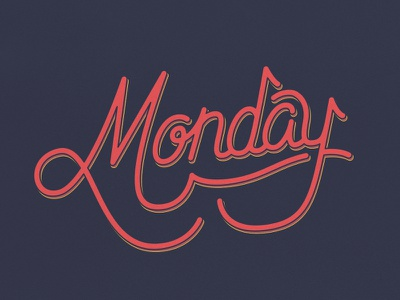 Monday vector lettering hand monday