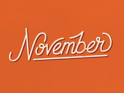 November vector fall november lettering hand