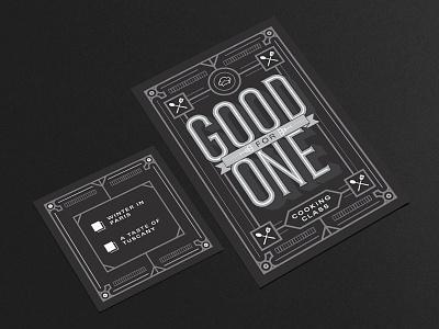 Cooking Class Christmas Card Present design monoline vector cmyk print invite present card christmas class cooking