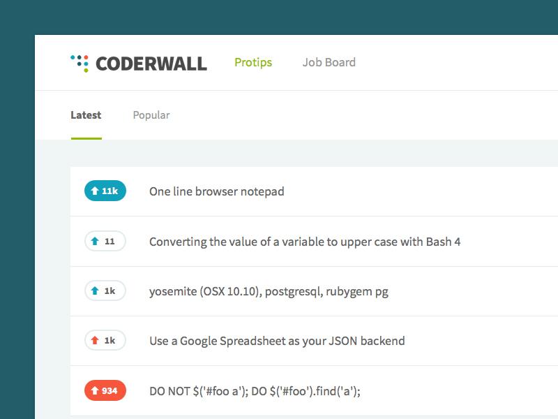 Coderwall Homepage ui minimal clean design ux app user experience user interface web app