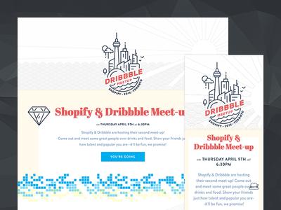 Official Dribbble Meetup - Apr 9 (Toronto) website dribbble meetup toronto rising sun pattern icons pixel invite landing page rsvp
