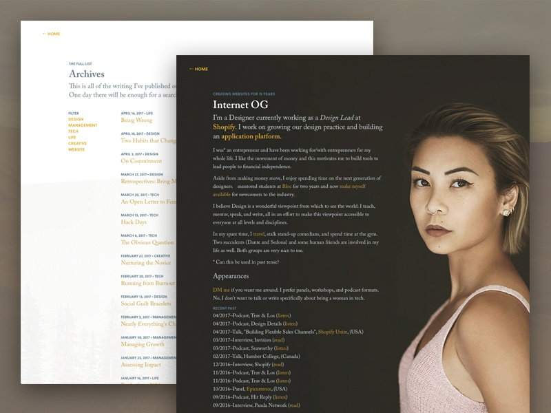 V8.0 Redesign - Subpages website typography portfolio minimal listing layout landing page index grid clean blog article