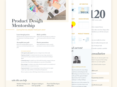 Product Design Mentorship icons responsive editorial bootcamp class typography clean index website landing page layout launch