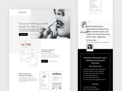 Beta Jupiter Launch marketing product landing page layout grid typography minimal art direction website