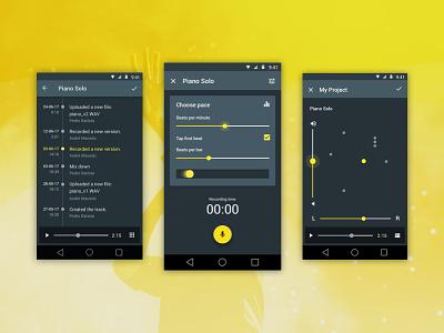 Binder Studio app design ux interface design ui material design android metronome version control project record music studio