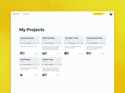 Binder Studio - My Projects collaboration music player projects cards web design web interface design ux ui music studio binder